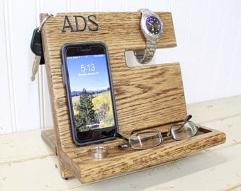 Wooden Phone Dock - Oak Phone Station - IPhone Docking Station - Charging Station - Nightstand Valet