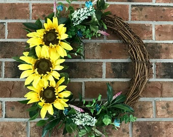Sunflower Wreath | Fall Wreath | Grapevine Wreath | Liberty Way Designs