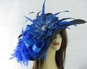 CUSTOM ORDER Black Royal Blue Jeweled Flower Feather Kentucky Derby Straw Hat