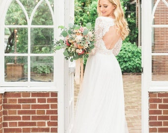 Long Sleeve Wedding Dress with Keyhole Back, Miniskirt Wedding Dress with Silk Chiffon and Soft English Tulle Skirt - Rory Dress