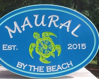 Outdoor Coastal Beach Cottage-Turtle Hibiscus Sign- Beach House Decor