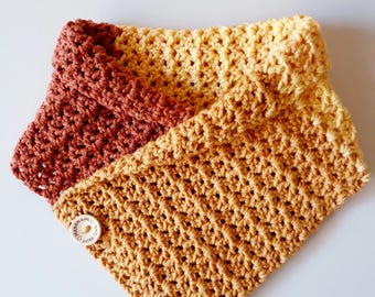 Crochet Neck Warmer, Cowl, Sweet Rolls Yarn, scarf collar, many colors to choose from, wooden buttons
