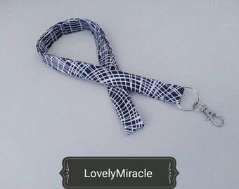 Black/white stripes elegant lanyard for ladies/gentleman