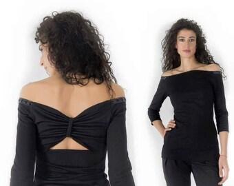 Women's Blouse / 3/4- Sleeves Blouse / Off-the-shoulder Blouse / Open Back Blouse / Tricot Blouse