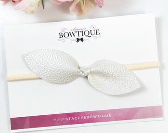 Top Knot Headband, Ivory Hair Bow, Faux Leather Bow, Baby Headband, Newborn Headband, Hair Bow