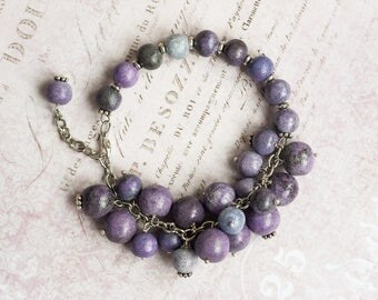Purple charm bracelet, Purple bridal jewelry, 21st birthday gift for her, One year anniversary gift for her, Unique birthday gift for her