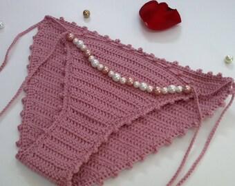 Crochet Bikini Swimsuit Bottom with Pearls, Crochet Bathing Suit Bottom, Dusty Pink Knit Bikini Bottom, Crochet Swimsuit Bottom with Pearls