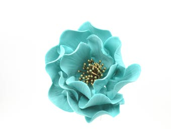 Teal Open Rose