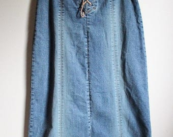 Sale Vintage '80's High - Waisted Faded Denim Lace Up Maxi Skirt US 5