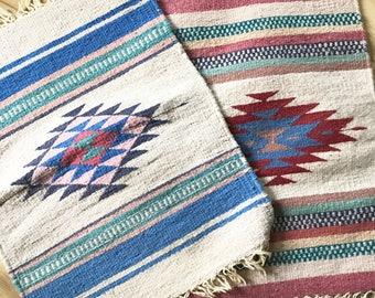 Woven Wool Southwestern Kilim Rugs • Small Wool Rugs  • Wall hangings •  Bohemian Decor