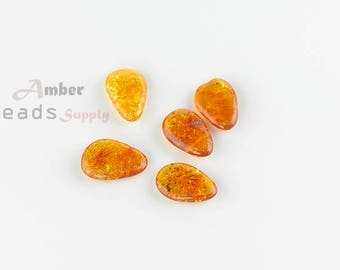 Wholesale Drop Shaped Amber Beads for Jewelry Making 5 Pieces 2428/8