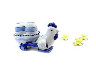 Hen Shakers - Ceramic Salt and Pepper Shakers - White and Blue Salt and Pepper Shakers -  Hen with Cart