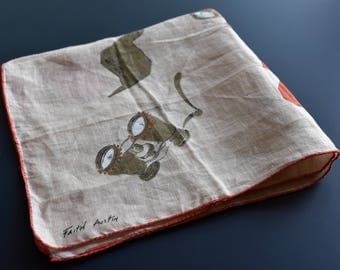 Vintage 1960s Faith Austin Explorer's Wanderlust Handkerchief Adventure Binoculars and Journal Notes Archeology Hiking