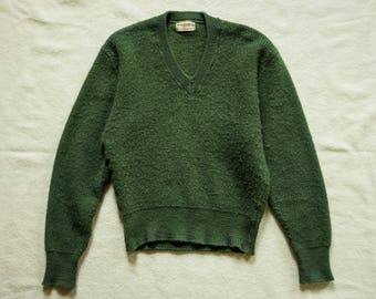 Womans 1960s Olive Drab OD V-neck Wool Jumper Sweater Army Military Fred Perry Nigel Cabourn Buzz Ricksons RRL lvc engineered garments
