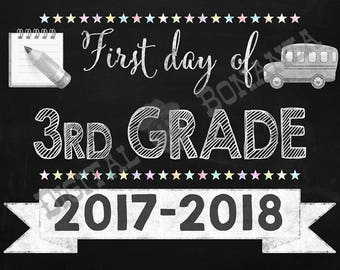 First Day of Third Grade Sign, Instant Download, First Day of School Chalkboard, Back To School, Chalkboard Sign, DIY, 3rd, Printable
