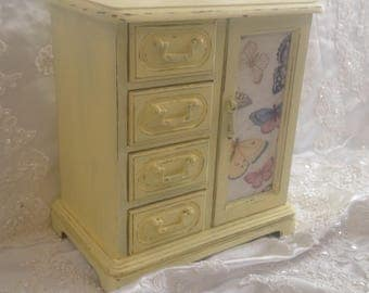 Jewelry Box Armoire Handpainted Light Yellow Shabby Chic Distressed Vintage Jewelry Box Organizer Storage Butterfly Fabric