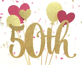 Gold/Pink Glitter Number & Balloons Anniversary Cake Topper | Glitter Birthday Cake Topper | Glitter Birthday Balloons Cake Accessory