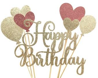 Champagne/Pink Glitter Script Happy Birthday & Balloons Cake Topper | Cursive + Balloons Cake Topper Set | Birthday Cake Accessory