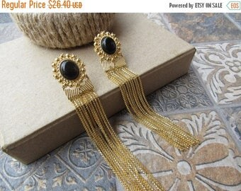 CHRISTMAS IN JULY Sale21% Long Black Statement Earrings with Gold Chains/Black Earrings/Dangling Earrings/Metal Earrings