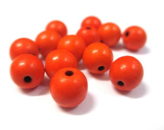 10 orange 8mm synthetic turquoise beads