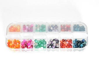 1 box of 480 beads 4mm (80 beads of each color) striped agate