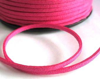 1 m glitter fuchsia suede 3 mm suede cord