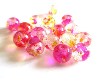 10 beads fuchsia and yellow Crackle and speckled 8mm (H-16)