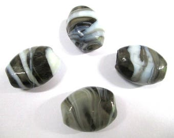 4 Brown and white 22x18mm oval glass beads