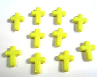 10 yellow 16x12x4mm acrylic cross beads