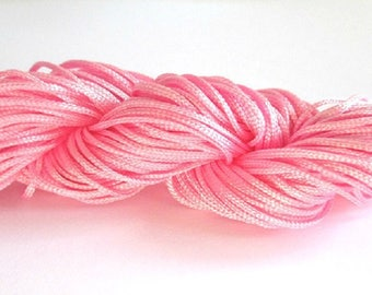 25 m wire braided pink nylon 1 mm