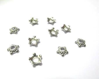 20 bead caps flower 6mm silver color metal