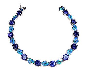Tanzanite & Blue Fire Opal Solid 925 Sterling Silver Link Tennis Bracelet 7''