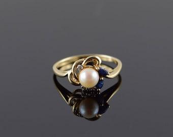 10k 6mm Pearl Sapphire Diamond Wrap Ring Gold