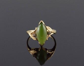 10k 16x7mm Dark Green Jade Marquise Ring Gold