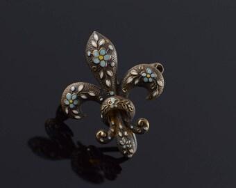 14k 1960's Blue White Flower Fleur De Lis Pin/Brooch Gold