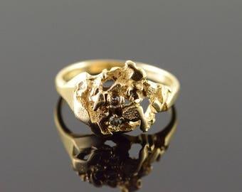 14k 0.05 CTW Diamond Nugget Ring Gold