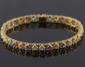 "14k 4.75 CTW Gem Stone Inset Tennis Bracelet Gold 8"""