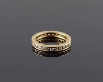 14k 1.00 CTW Diamond Channel Set Infinity Eternity Ring Gold