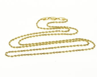 14k 1.1mm Pressed Curb Link Chain Necklace Gold 15.25""