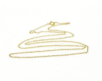 10k 1.2mm Cable Link Chain Necklace Gold 17.75""