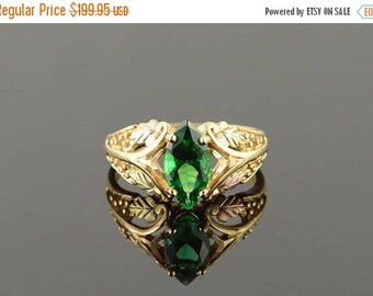 Big SALE 14k 1.50 CT Imitation Marquise Emerald Black Hills Filigree Ring Gold