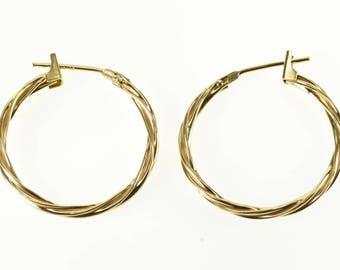 14k Woven Twist Hoop Earrings Gold