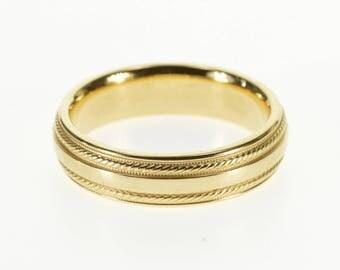 14k Rounded Rope Milgrain Patterned Wedding Band Ring Gold
