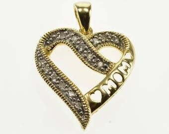 10k Diamond Inset Milgraint Trim Mom Cut Out Heart Pendant Gold