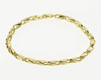 "14k 4.5mm Rounded Fancy Chain Link Bracelet Gold 7.5"""