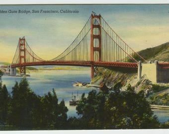Golden Gate Bridge San Francisco California Linen Postcard