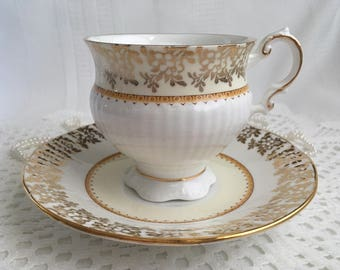 Elizabethan Fine Bone China Tea Cup and Saucer, Cream and White with Gold Gilding and Trim