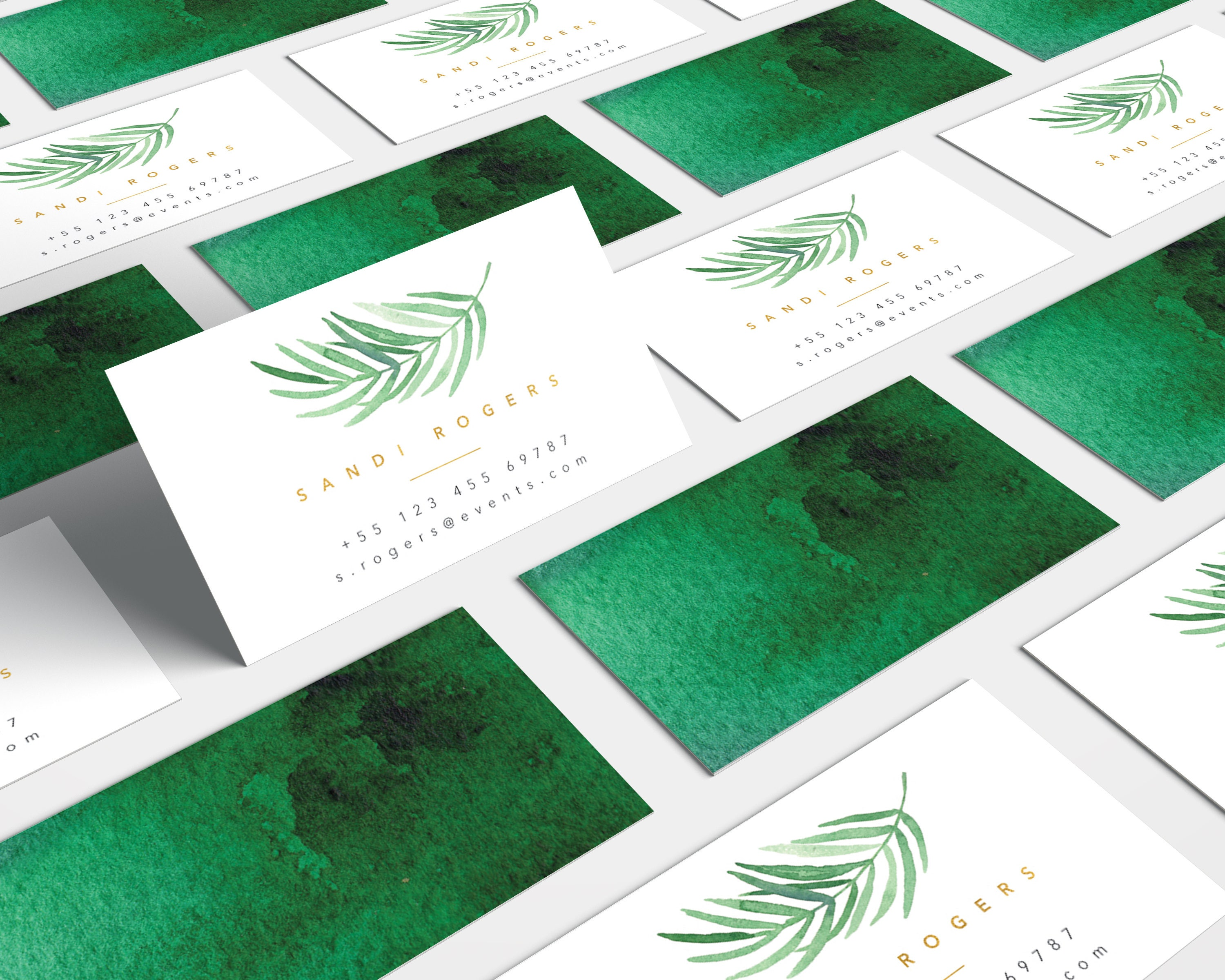 tropical business card palm leaf business card watercolor printable business card handmade business