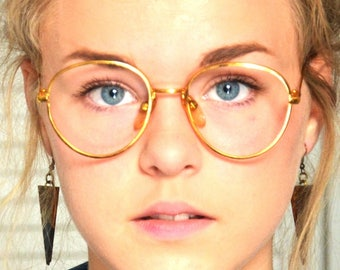 Unique Eyeglasses Round Vintage Gold Thin Rim for Hipster Blogger Antique Women's Eye Glasses 70s 80s 90s