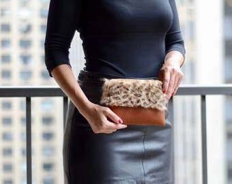 Genuine Leather and Shearling Pochette, Shearling Pochette, Brown Leather Clutch, Shearling Pouch, Leopard Print Clutch, Animal Print Clutch